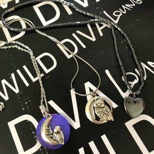 NWOT Set of 3 Owl & Heart Necklaces